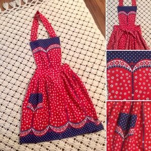 New Listing! Vintage 70s Red,White &Blue Apron